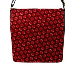 Red Passion Floral Pattern Flap Messenger Bag (l)