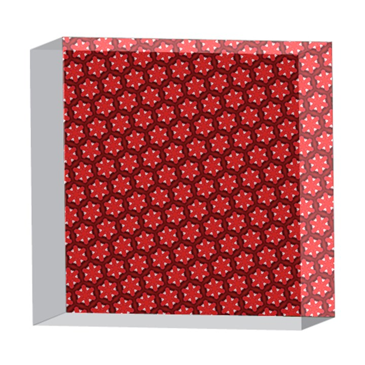 Red Passion Floral Pattern 5  x 5  Acrylic Photo Blocks
