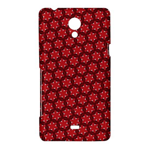 Red Passion Floral Pattern Sony Xperia T
