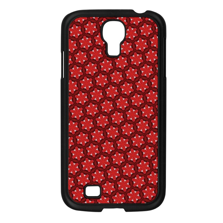 Red Passion Floral Pattern Samsung Galaxy S4 I9500/ I9505 Case (Black)
