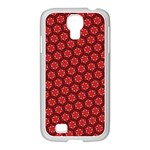 Red Passion Floral Pattern Samsung GALAXY S4 I9500/ I9505 Case (White) Front