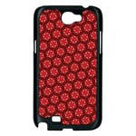 Red Passion Floral Pattern Samsung Galaxy Note 2 Case (Black) Front