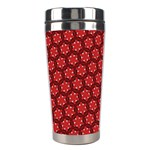 Red Passion Floral Pattern Stainless Steel Travel Tumblers Left