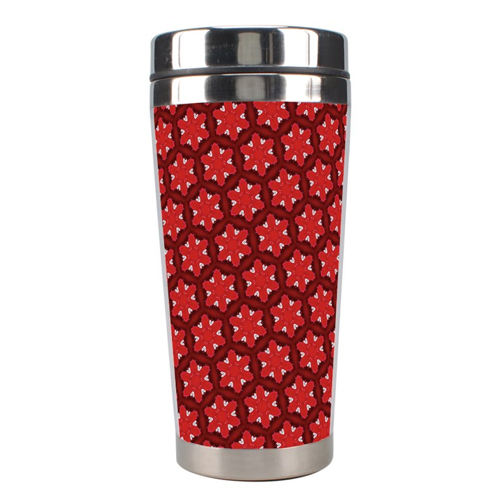 Red Passion Floral Pattern Stainless Steel Travel Tumblers