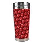Red Passion Floral Pattern Stainless Steel Travel Tumblers Center