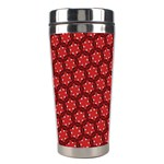 Red Passion Floral Pattern Stainless Steel Travel Tumblers Right