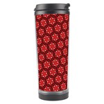Red Passion Floral Pattern Travel Tumbler Left
