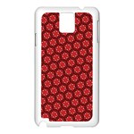 Red Passion Floral Pattern Samsung Galaxy Note 3 N9005 Case (White) Front