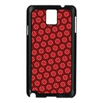 Red Passion Floral Pattern Samsung Galaxy Note 3 N9005 Case (Black) Front