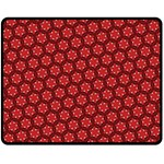 Red Passion Floral Pattern Double Sided Fleece Blanket (Medium)  60 x50 Blanket Front