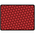 Red Passion Floral Pattern Double Sided Fleece Blanket (Large)  80 x60 Blanket Back