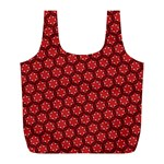 Red Passion Floral Pattern Full Print Recycle Bags (L)  Back