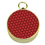Red Passion Floral Pattern Gold Compasses Front