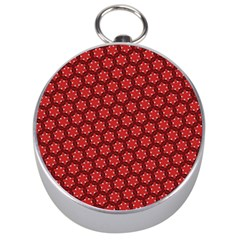 Red Passion Floral Pattern Silver Compasses