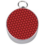 Red Passion Floral Pattern Silver Compasses Front