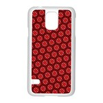 Red Passion Floral Pattern Samsung Galaxy S5 Case (White) Front