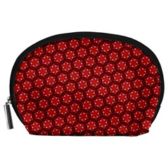 Red Passion Floral Pattern Accessory Pouches (large)