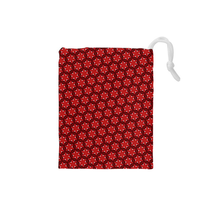 Red Passion Floral Pattern Drawstring Pouches (Small)