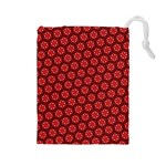 Red Passion Floral Pattern Drawstring Pouches (Large)  Front