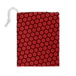 Red Passion Floral Pattern Drawstring Pouches (Large)  Back