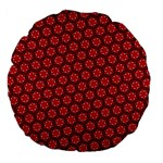 Red Passion Floral Pattern Large 18  Premium Flano Round Cushions Back