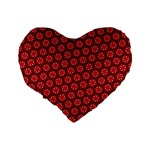 Red Passion Floral Pattern Standard 16  Premium Flano Heart Shape Cushions Back