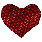 Red Passion Floral Pattern Large 19  Premium Flano Heart Shape Cushions Front