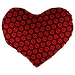 Red Passion Floral Pattern Large 19  Premium Flano Heart Shape Cushions Back