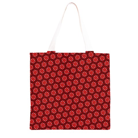 Red Passion Floral Pattern Grocery Light Tote Bag
