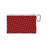 Red Passion Floral Pattern Canvas Cosmetic Bag (S) Back