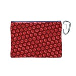 Red Passion Floral Pattern Canvas Cosmetic Bag (M) Back