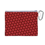 Red Passion Floral Pattern Canvas Cosmetic Bag (L) Back