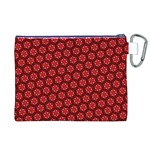 Red Passion Floral Pattern Canvas Cosmetic Bag (XL) Back