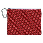 Red Passion Floral Pattern Canvas Cosmetic Bag (XXL) Front