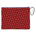 Red Passion Floral Pattern Canvas Cosmetic Bag (XXL) Back