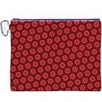 Red Passion Floral Pattern Canvas Cosmetic Bag (XXXL) Front