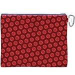 Red Passion Floral Pattern Canvas Cosmetic Bag (XXXL) Back