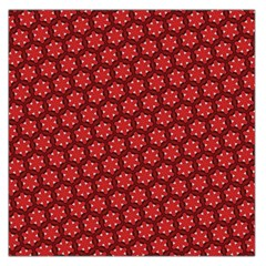 Red Passion Floral Pattern Large Satin Scarf (Square)