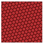 Red Passion Floral Pattern Large Satin Scarf (Square) Front