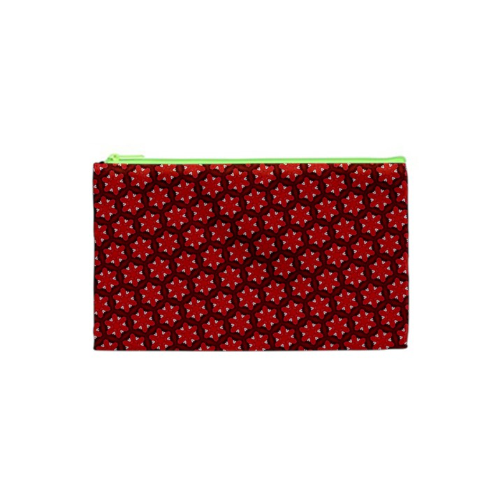 Red Passion Floral Pattern Cosmetic Bag (XS)