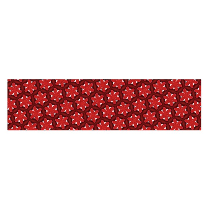 Red Passion Floral Pattern Satin Scarf (Oblong)