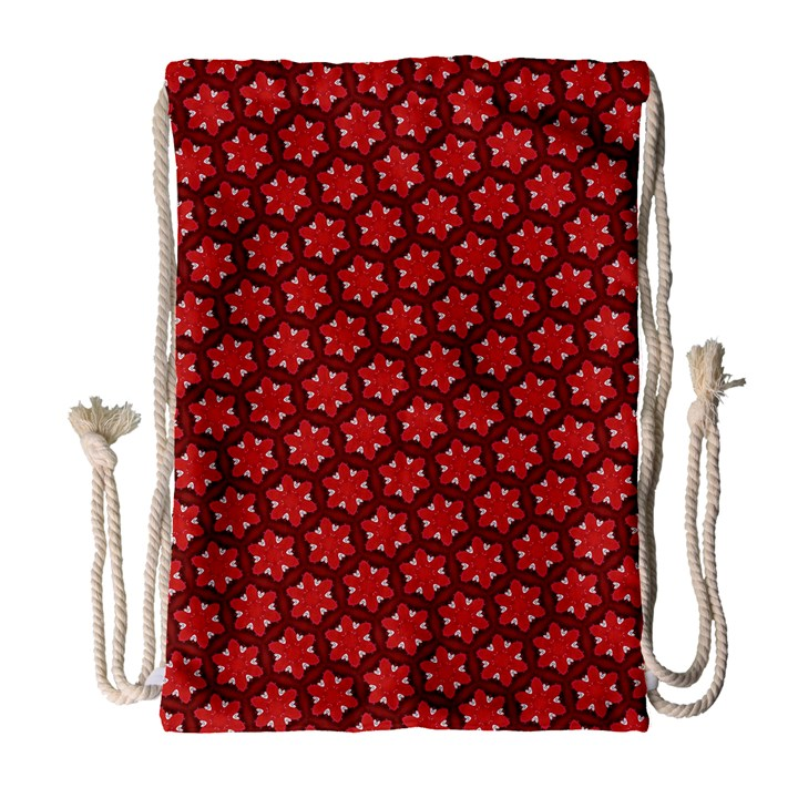 Red Passion Floral Pattern Drawstring Bag (Large)