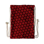 Red Passion Floral Pattern Drawstring Bag (Small) Front