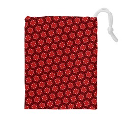 Red Passion Floral Pattern Drawstring Pouches (extra Large)