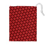 Red Passion Floral Pattern Drawstring Pouches (Extra Large) Front