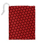 Red Passion Floral Pattern Drawstring Pouches (Extra Large) Back