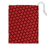 Red Passion Floral Pattern Drawstring Pouches (XXL) Front
