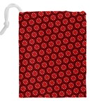 Red Passion Floral Pattern Drawstring Pouches (XXL) Back
