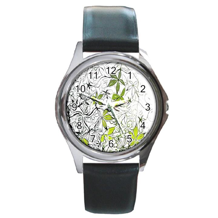 Floral Pattern Background  Round Metal Watch