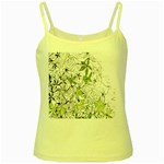 Floral Pattern Background  Yellow Spaghetti Tank Front
